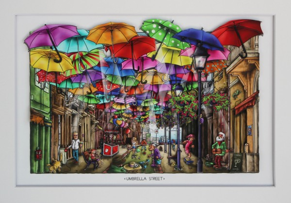 3D Pop Art - Umbrella Street